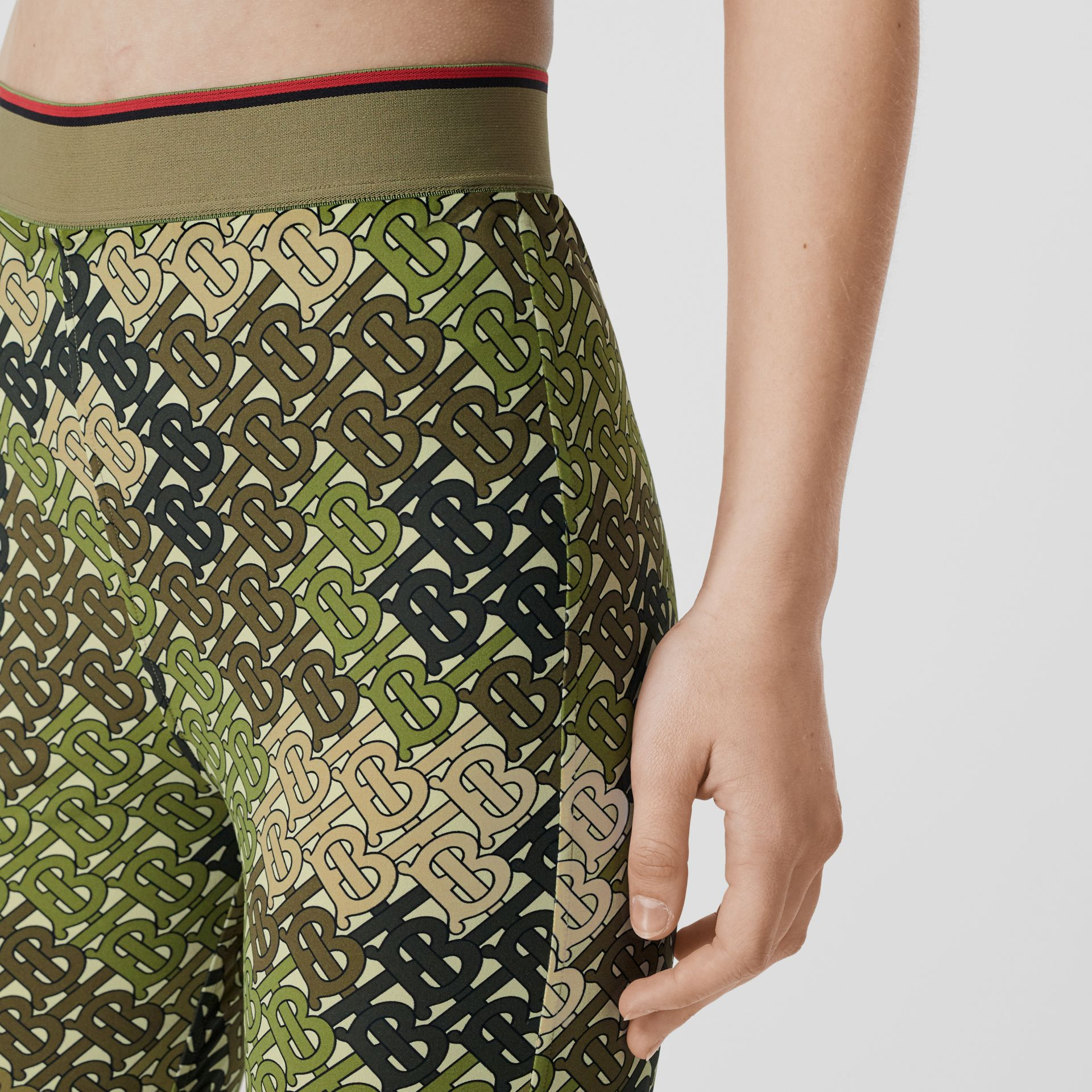 Monogram Print Stretch Jersey Leggings in Khaki Green - Women | Burberry - gallery image 1