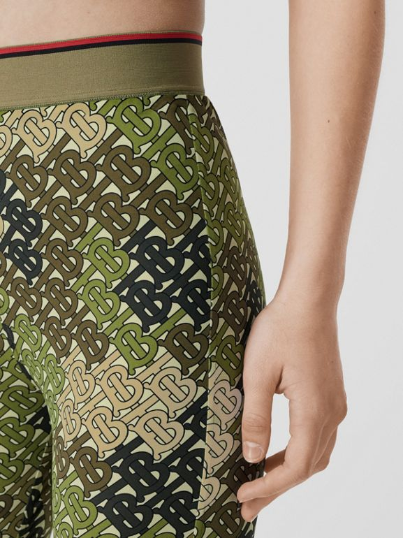 Monogram Print Stretch Jersey Leggings in Khaki Green - Women | Burberry - cell image 1