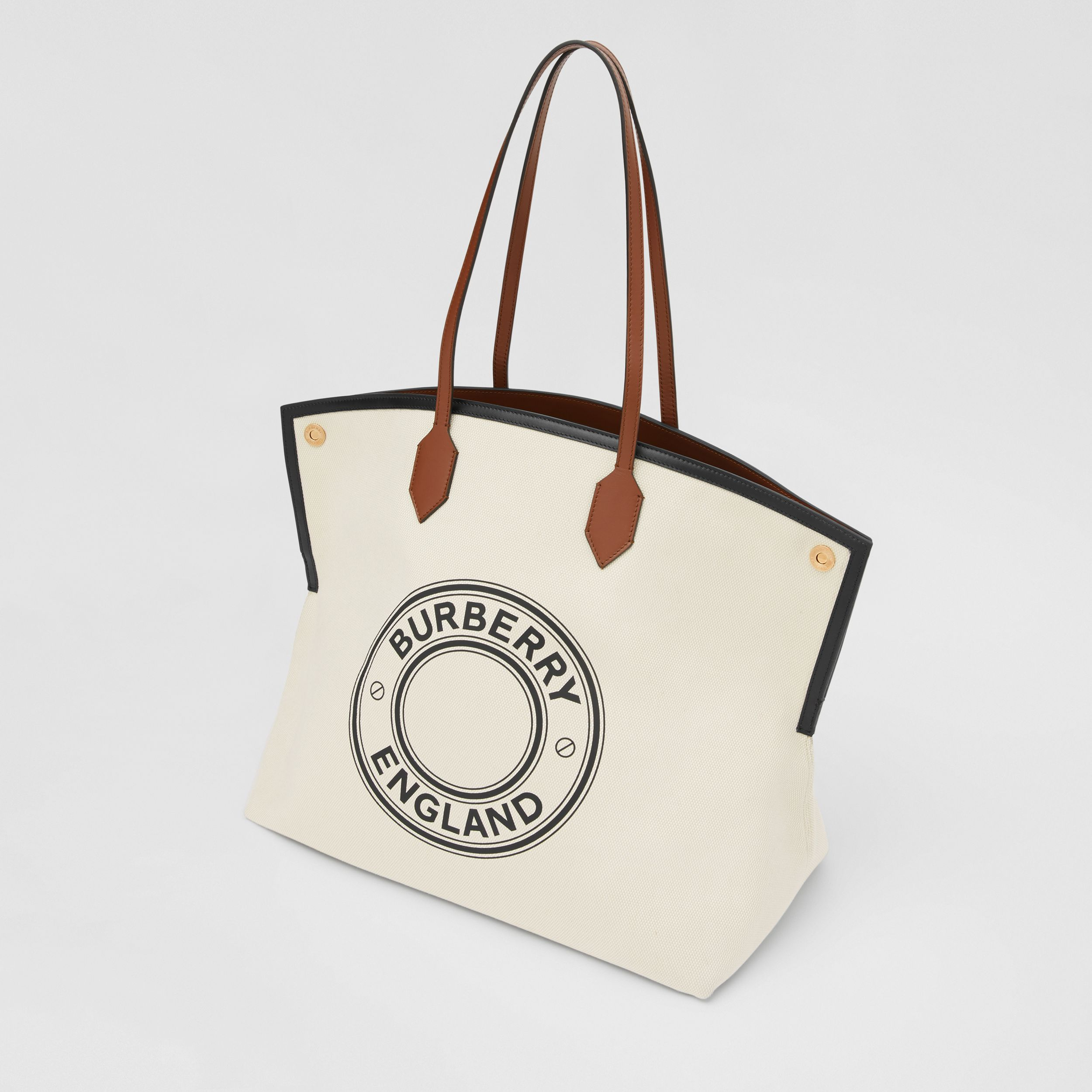 Large Logo Graphic Cotton Canvas Society Tote in Natural - Women | Burberry - 4