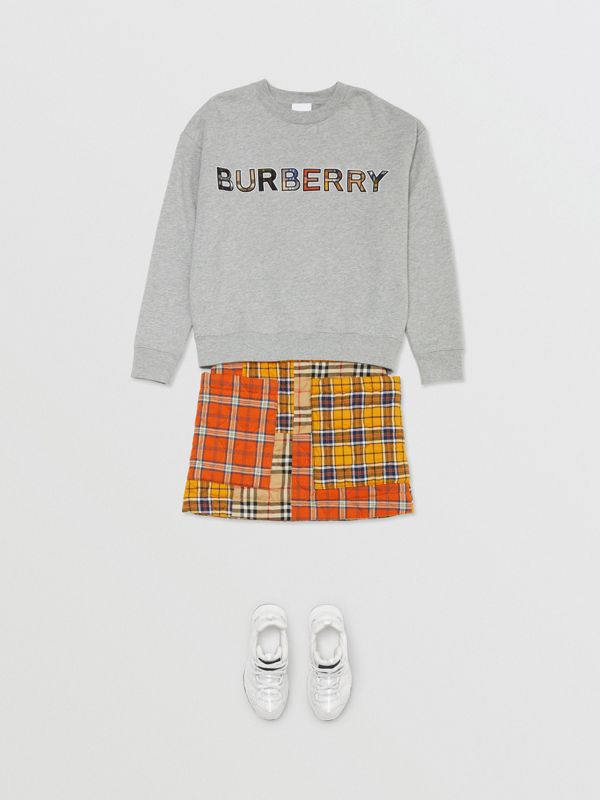 Patchwork Check Cotton Flannel Skirt in Souwester Yellow | Burberry United Kingdom - cell image 2