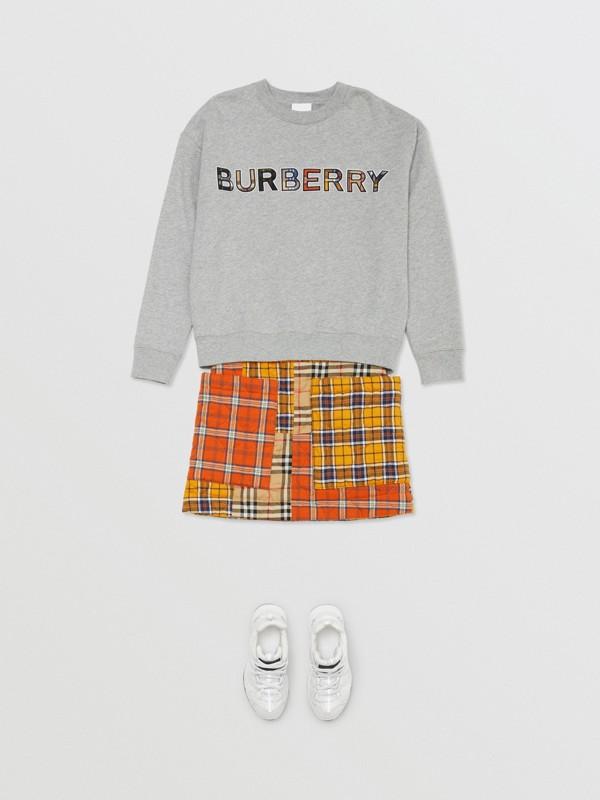 Jupe en flanelle de coton check (Jaune Suroît) | Burberry - cell image 2