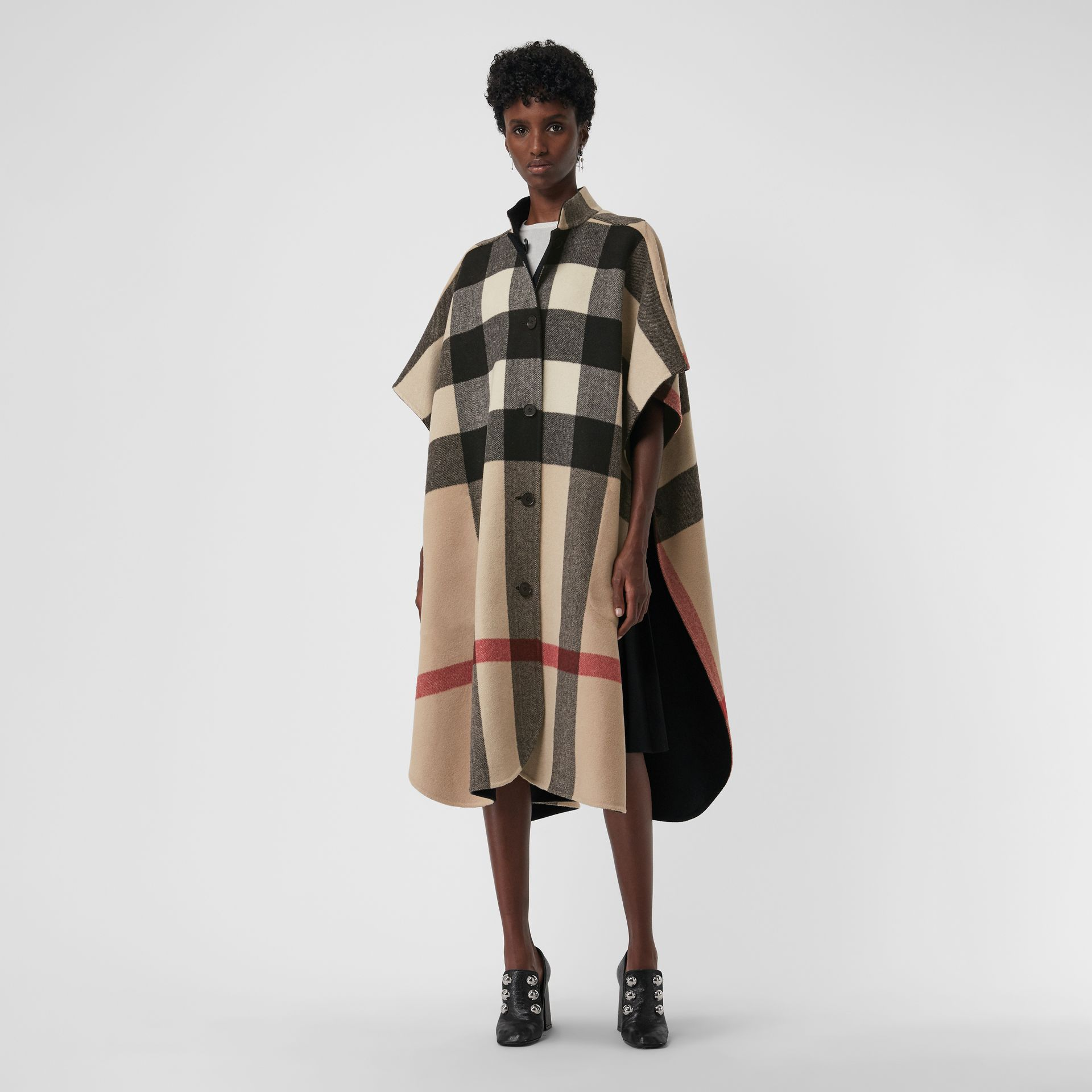 Reversible Check Oversized Poncho in Black - Women | Burberry - gallery image 3