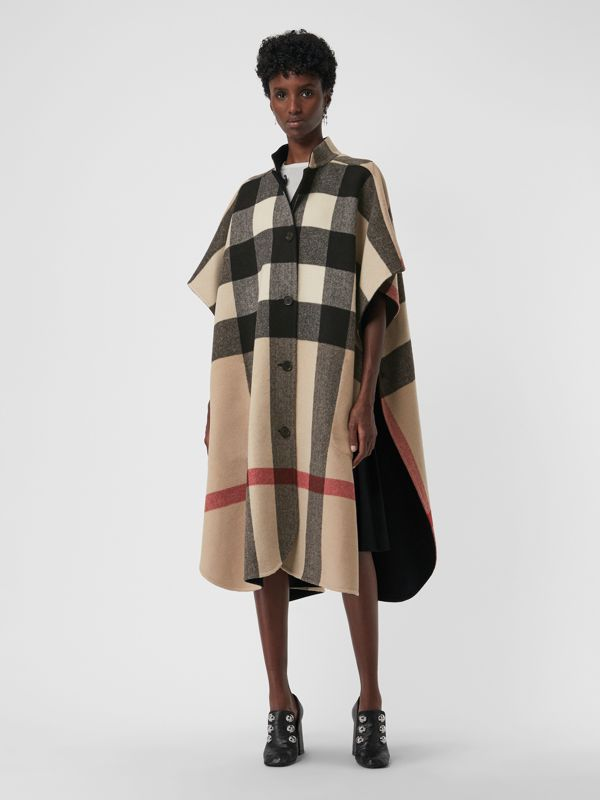 Reversible Check Oversized Poncho in Black - Women | Burberry - cell image 3