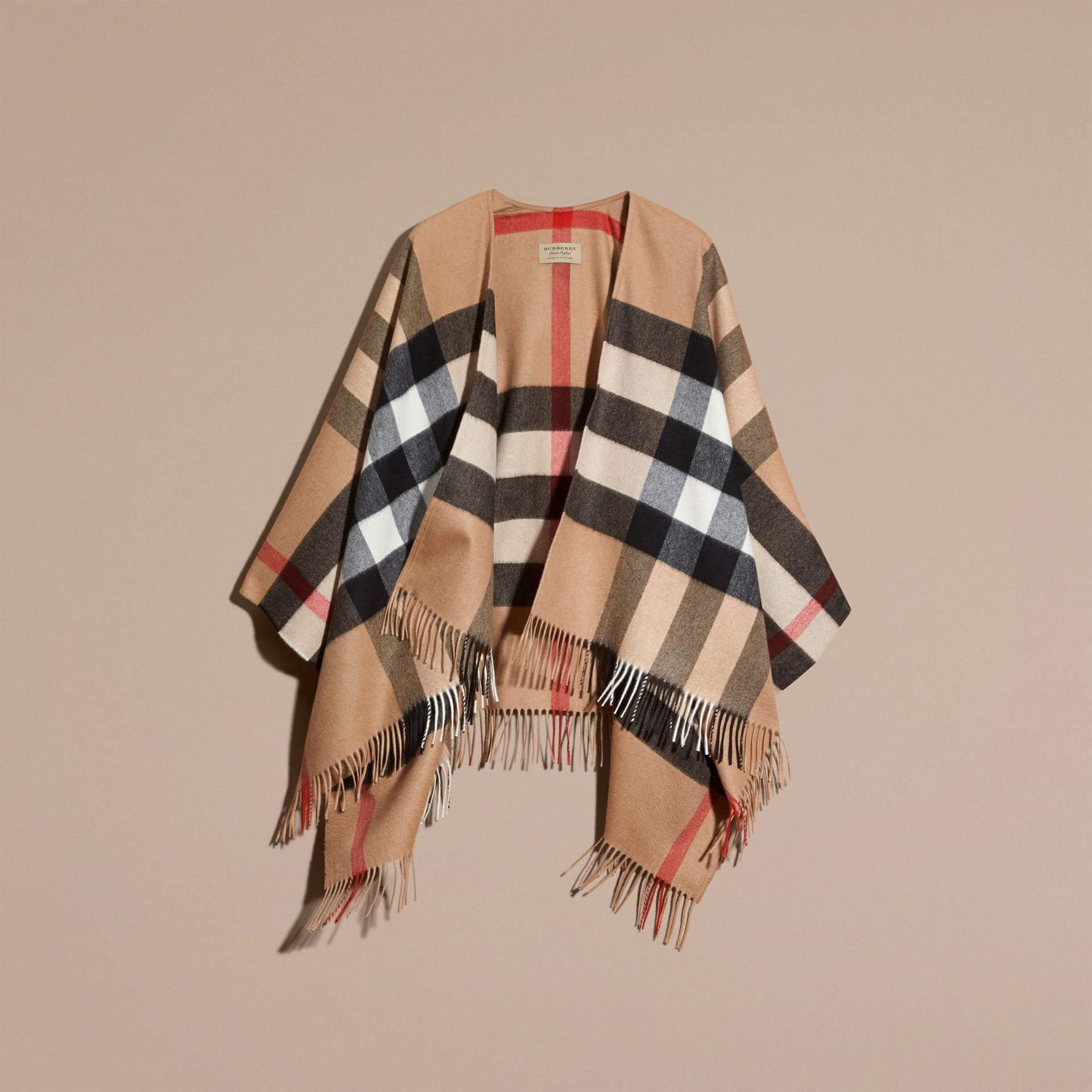Check Cashmere and Wool Poncho in Camel - gallery image 4