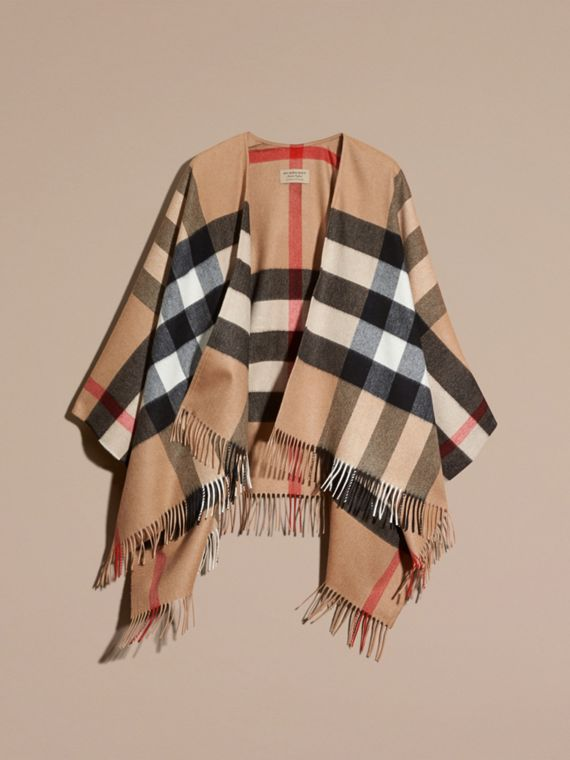 Check Cashmere and Wool Poncho in Camel - cell image 3