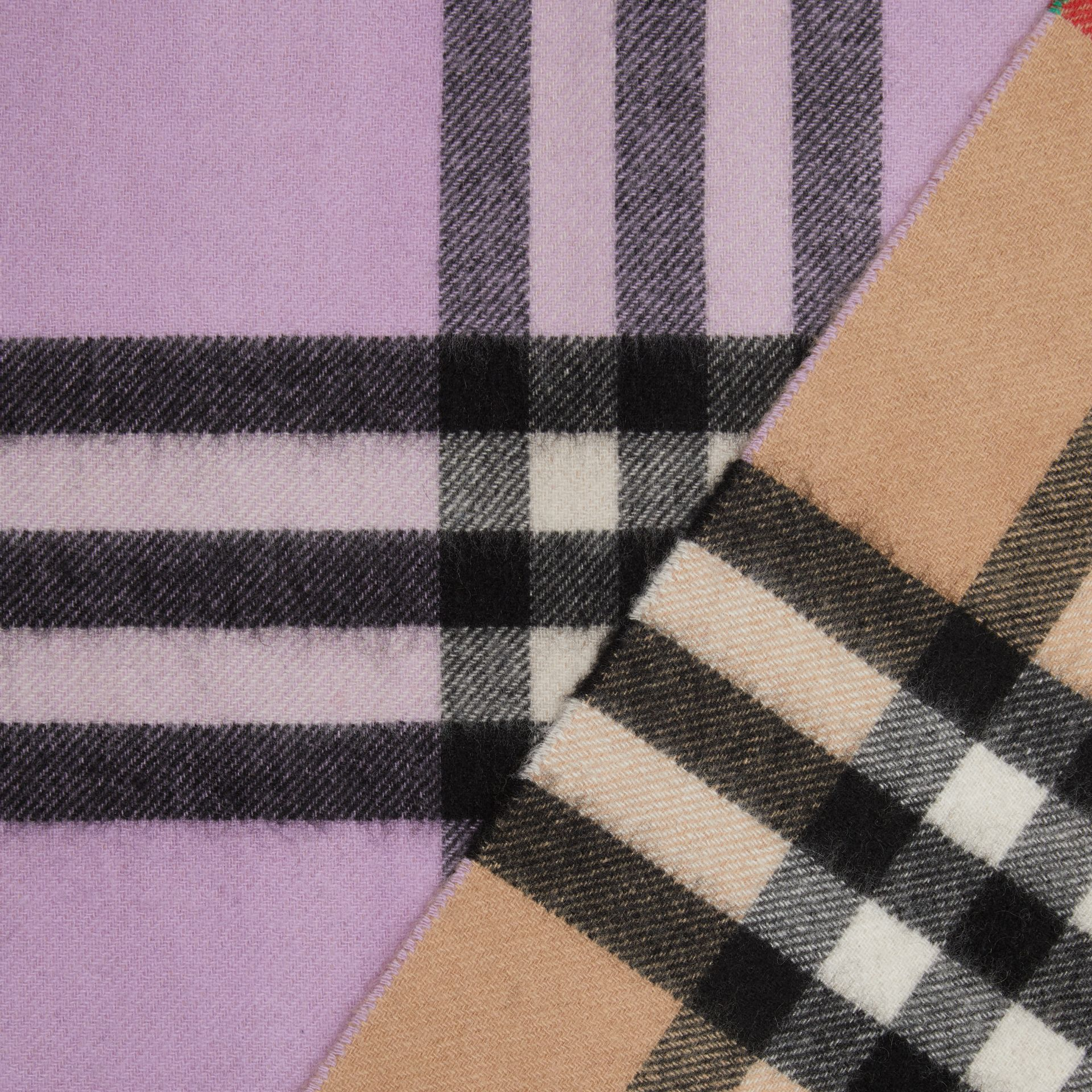 Long Reversible Check Double-faced Cashmere Scarf in Pale Heather | Burberry - gallery image 1