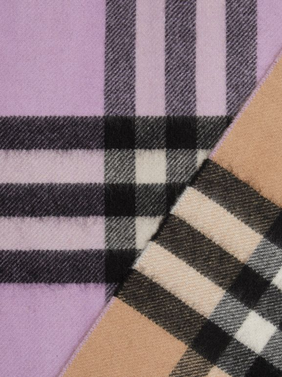 Long Reversible Check Double-faced Cashmere Scarf in Pale Heather | Burberry - cell image 1