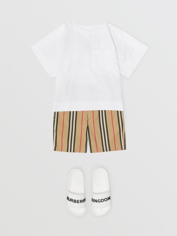 Horseferry Print Cotton T-shirt in White | Burberry Australia - cell image 3