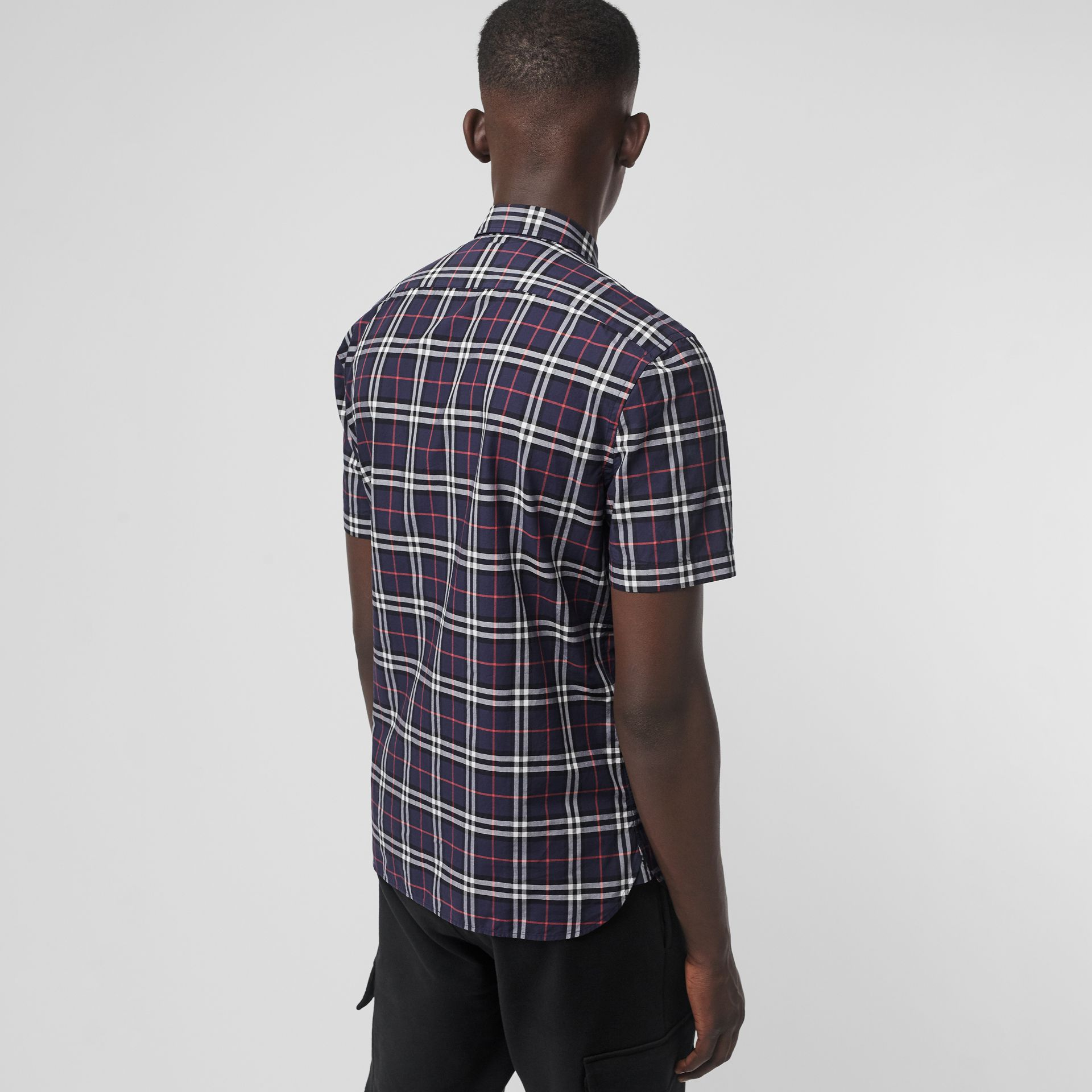 Short-sleeve Check Cotton Shirt in Navy - Men | Burberry - gallery image 2