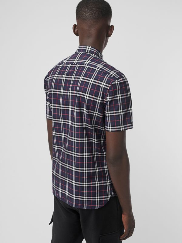 Short-sleeve Check Cotton Shirt in Navy - Men | Burberry United Kingdom - cell image 2