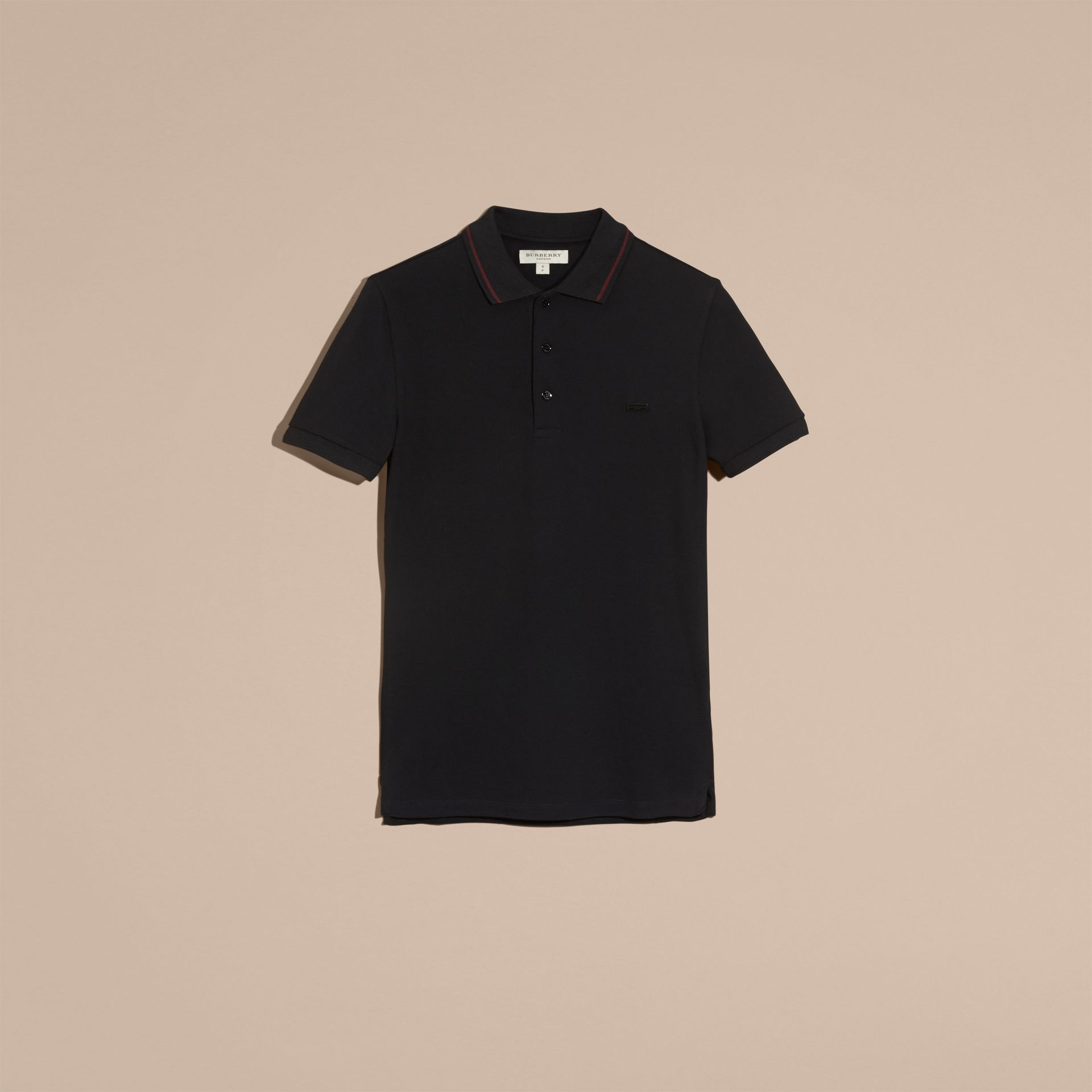 Black/mahogany red Contrast Trim Cotton Piqué Polo Shirt Black/mahogany Red - gallery image 4