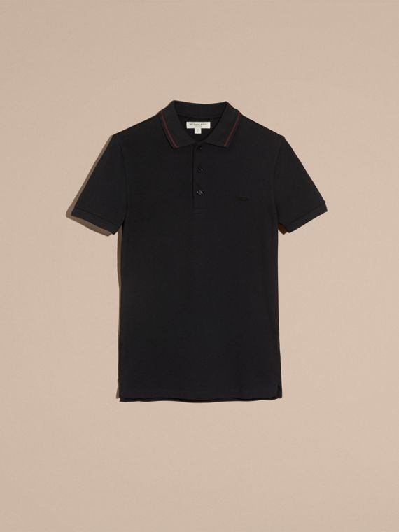 Black/mahogany red Contrast Trim Cotton Piqué Polo Shirt Black/mahogany Red - cell image 3