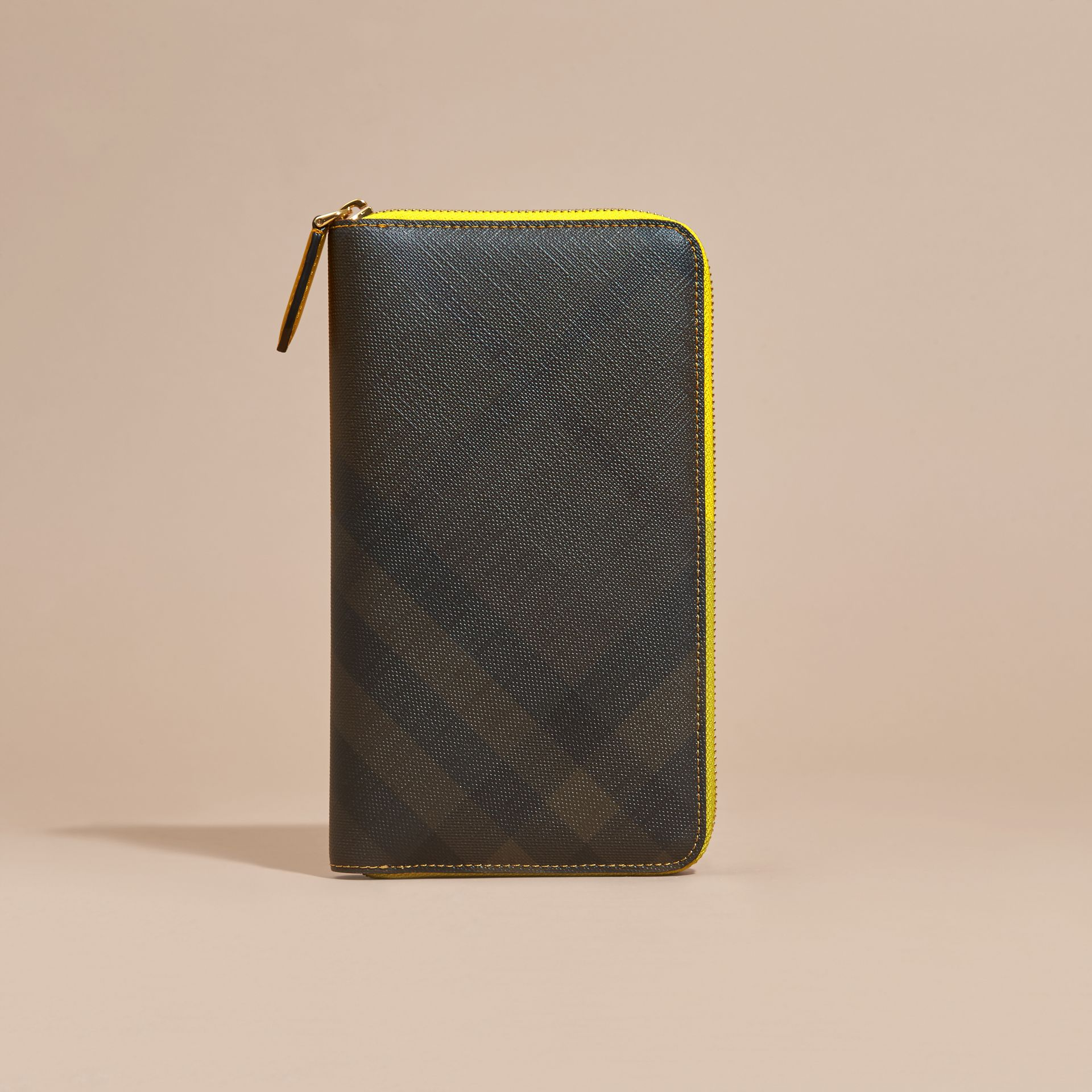Larch yellow Contrast Trim London Check Ziparound Wallet - gallery image 6
