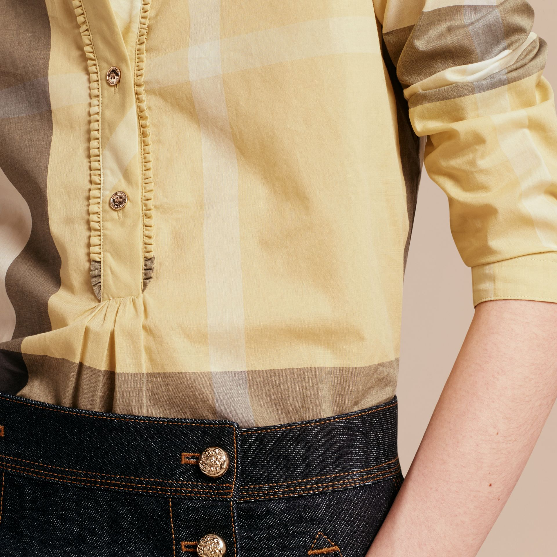 Camomile yellow Check Cotton Tunic Shirt - gallery image 5