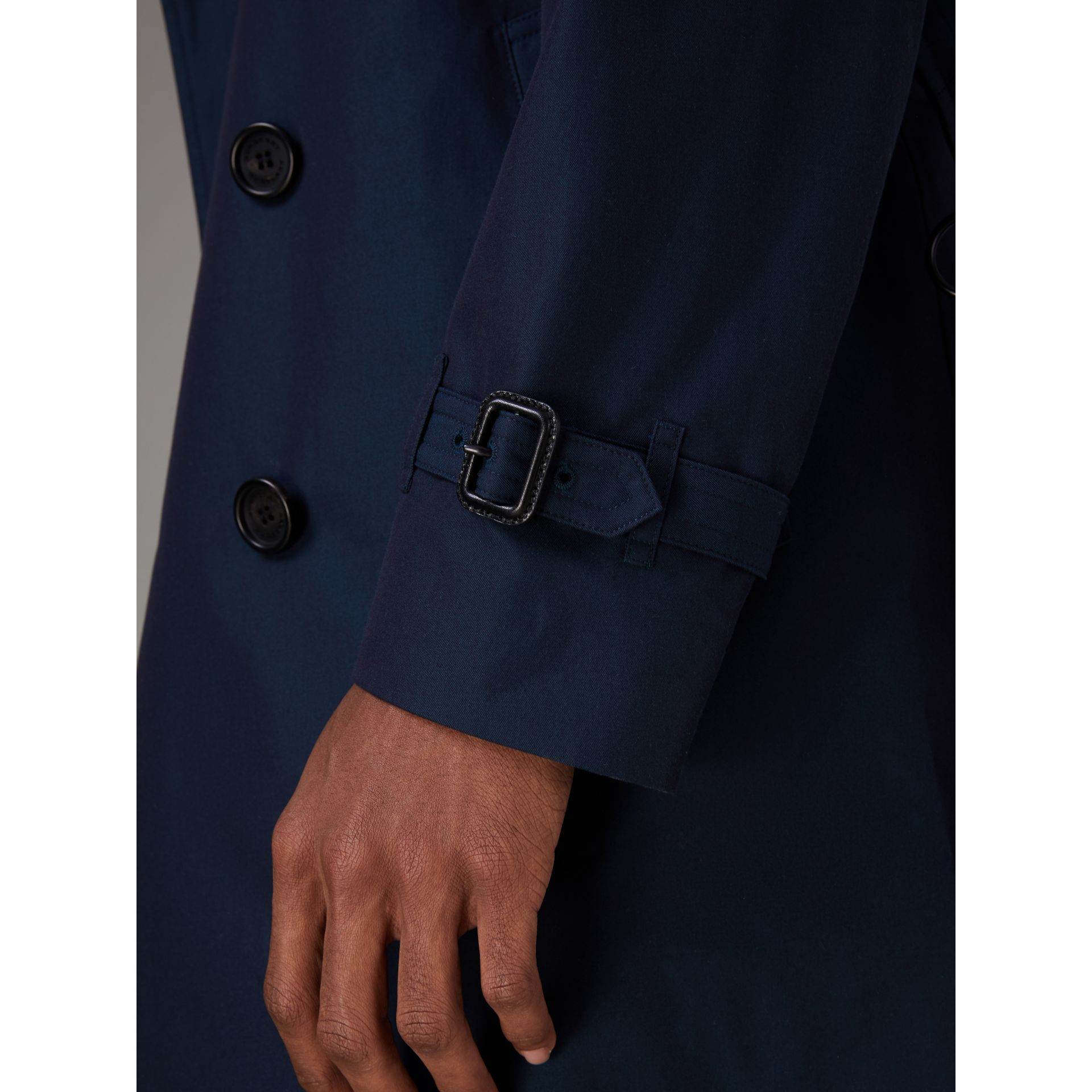 Cotton Gabardine Trench Coat in Teal Blue - Men | Burberry Canada - gallery image 5