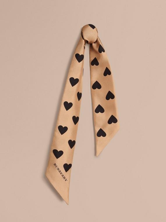 Sciarpa sottile in seta con stampa a cuori Cammello/nero