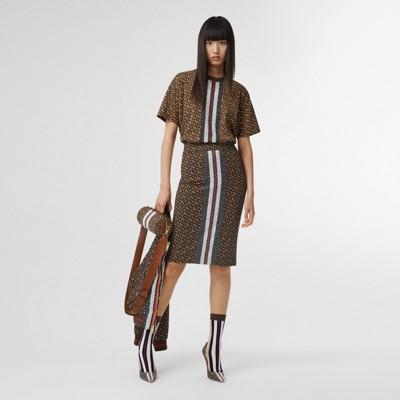 Monogram Stripe Print Stretch Jersey Pencil Skirt in Bridle Brown Women | Burberry