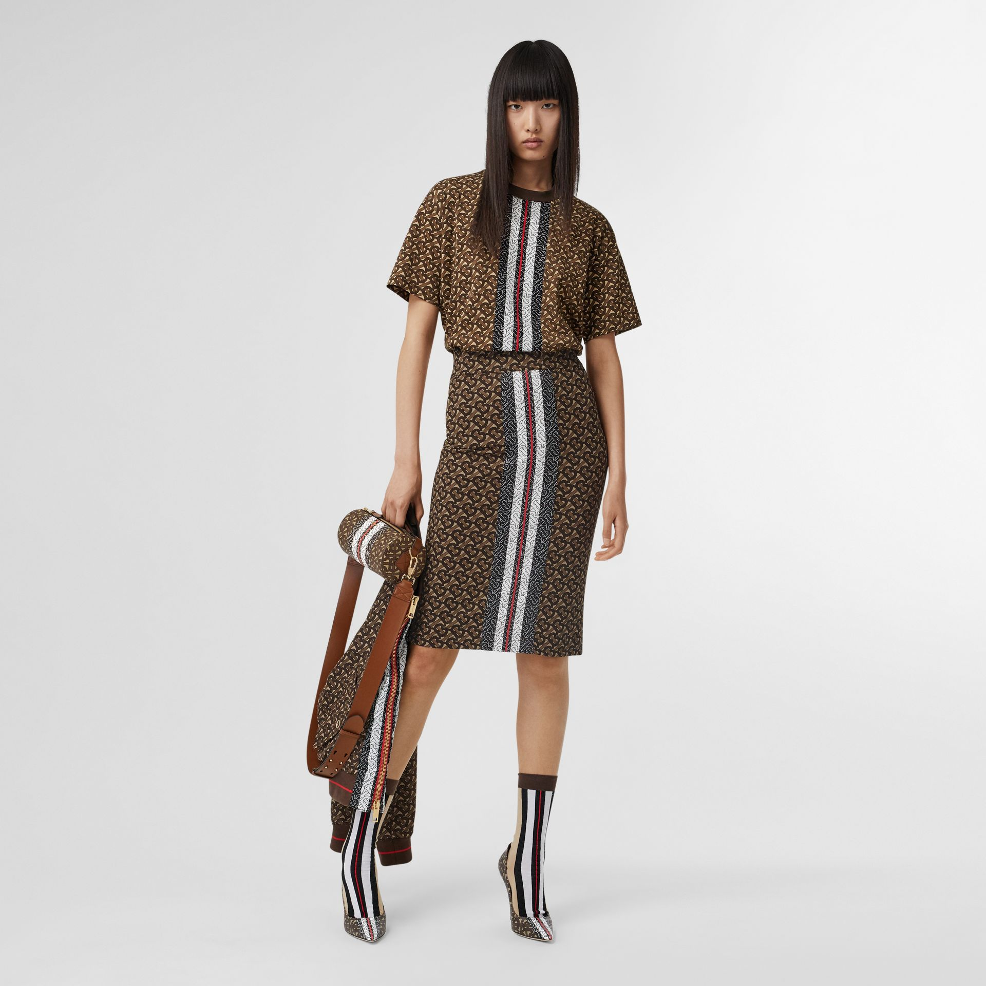 Monogram Stripe Print Stretch Jersey Pencil Skirt in Bridle Brown - Women | Burberry United Kingdom - gallery image 0