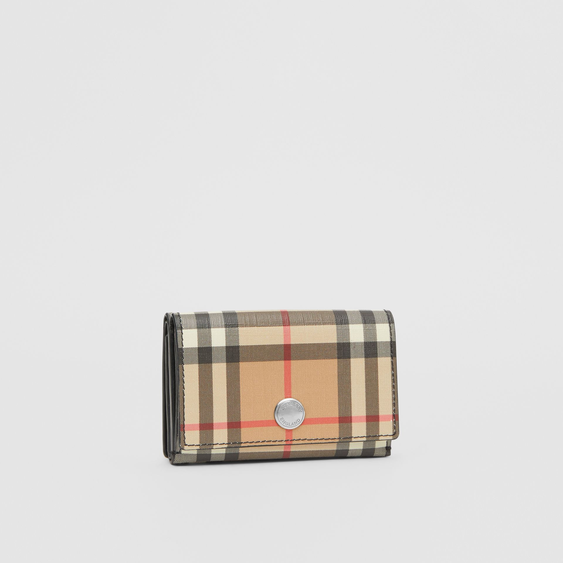Small Vintage Check E-canvas Folding Wallet in Black - Women | Burberry - gallery image 3