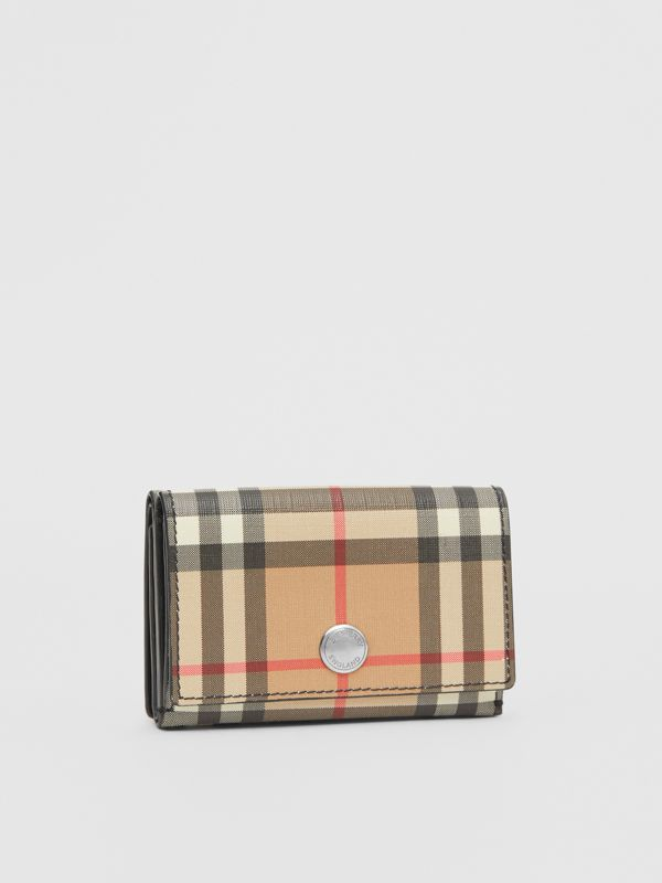Small Vintage Check E-canvas Folding Wallet in Black - Women | Burberry - cell image 3