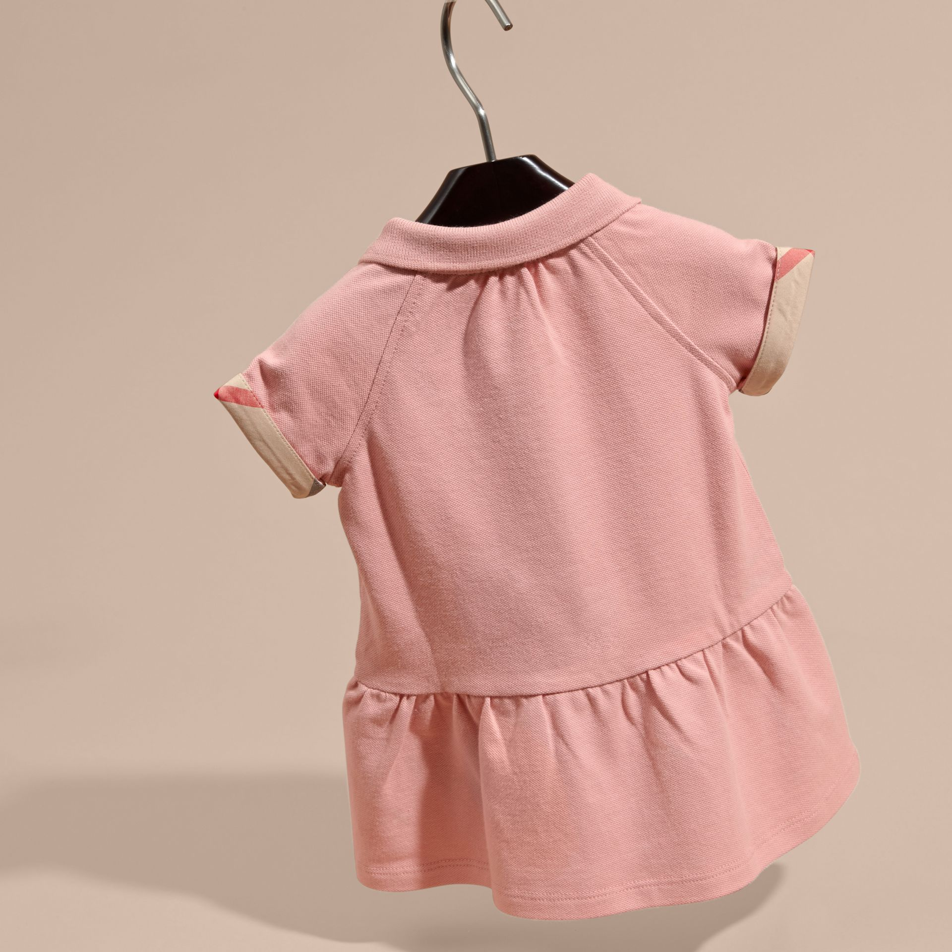 Check Detail Stretch Cotton Piqué Dress Ash Rose - gallery image 4