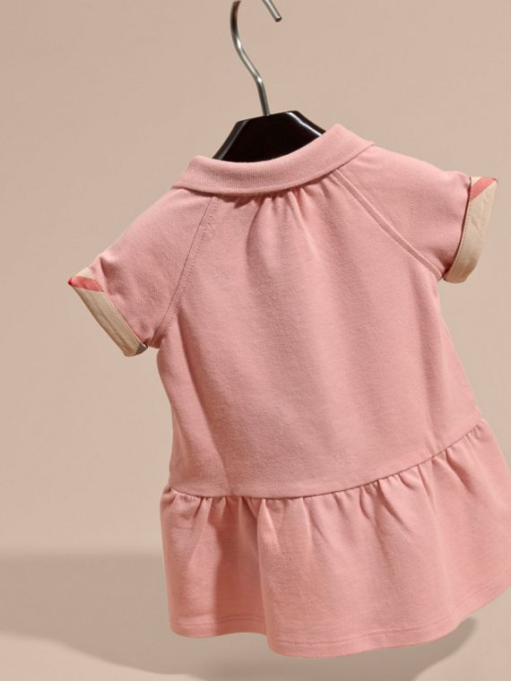 Check Detail Stretch Cotton Piqué Dress Ash Rose - cell image 3