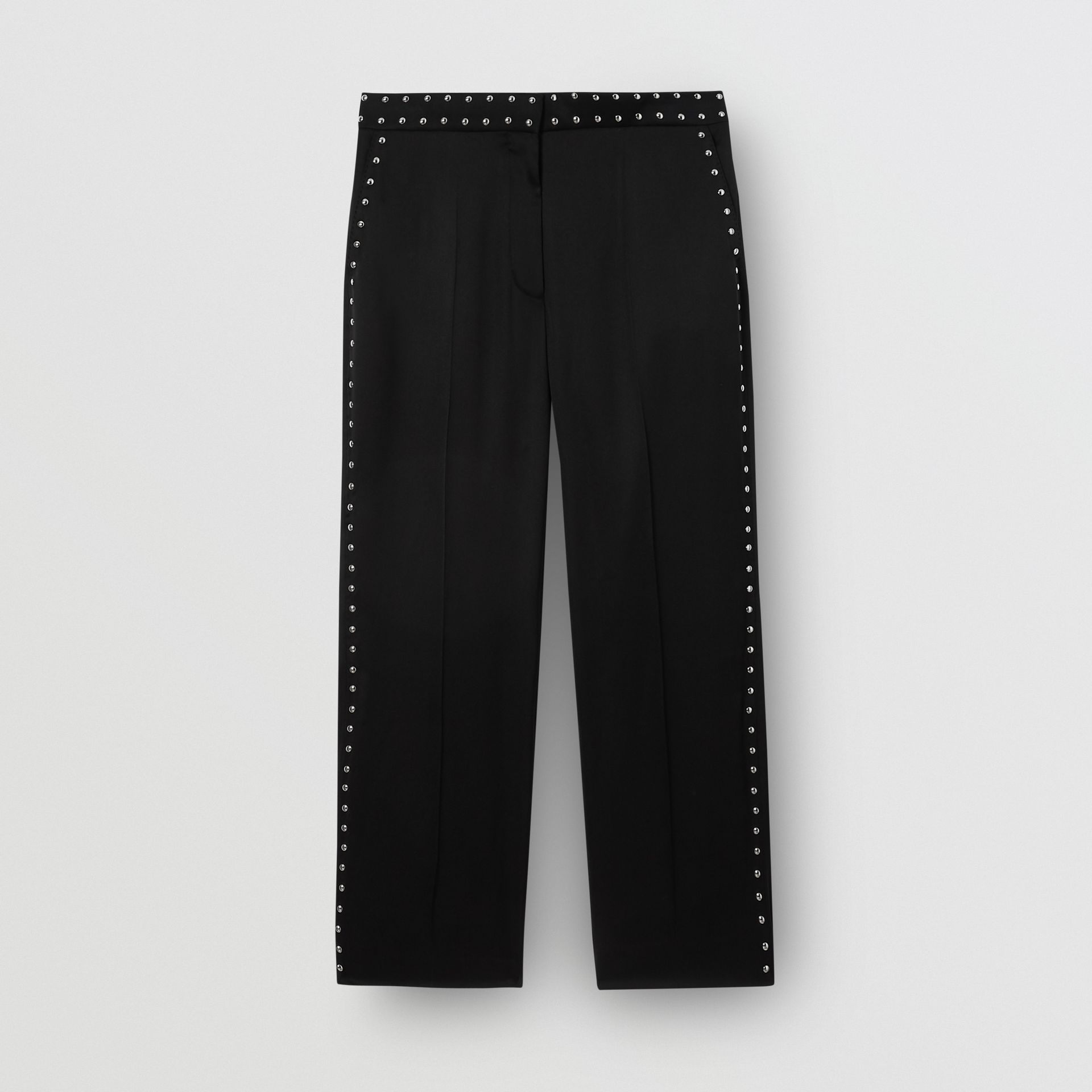Studded Silk Satin Tailored Trousers in Black - Women | Burberry Australia - gallery image 3