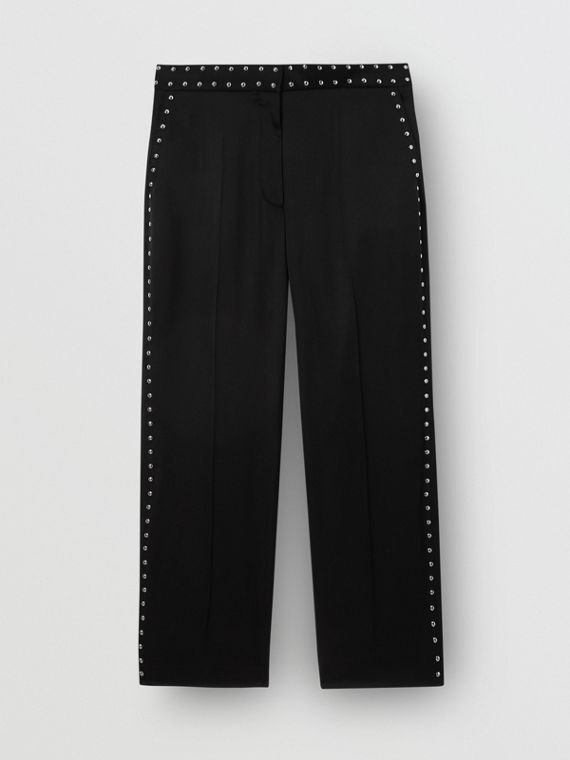 Studded Silk Satin Tailored Trousers in Black