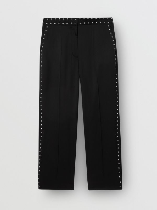 Studded Silk Satin Tailored Trousers in Black - Women | Burberry Australia - cell image 3