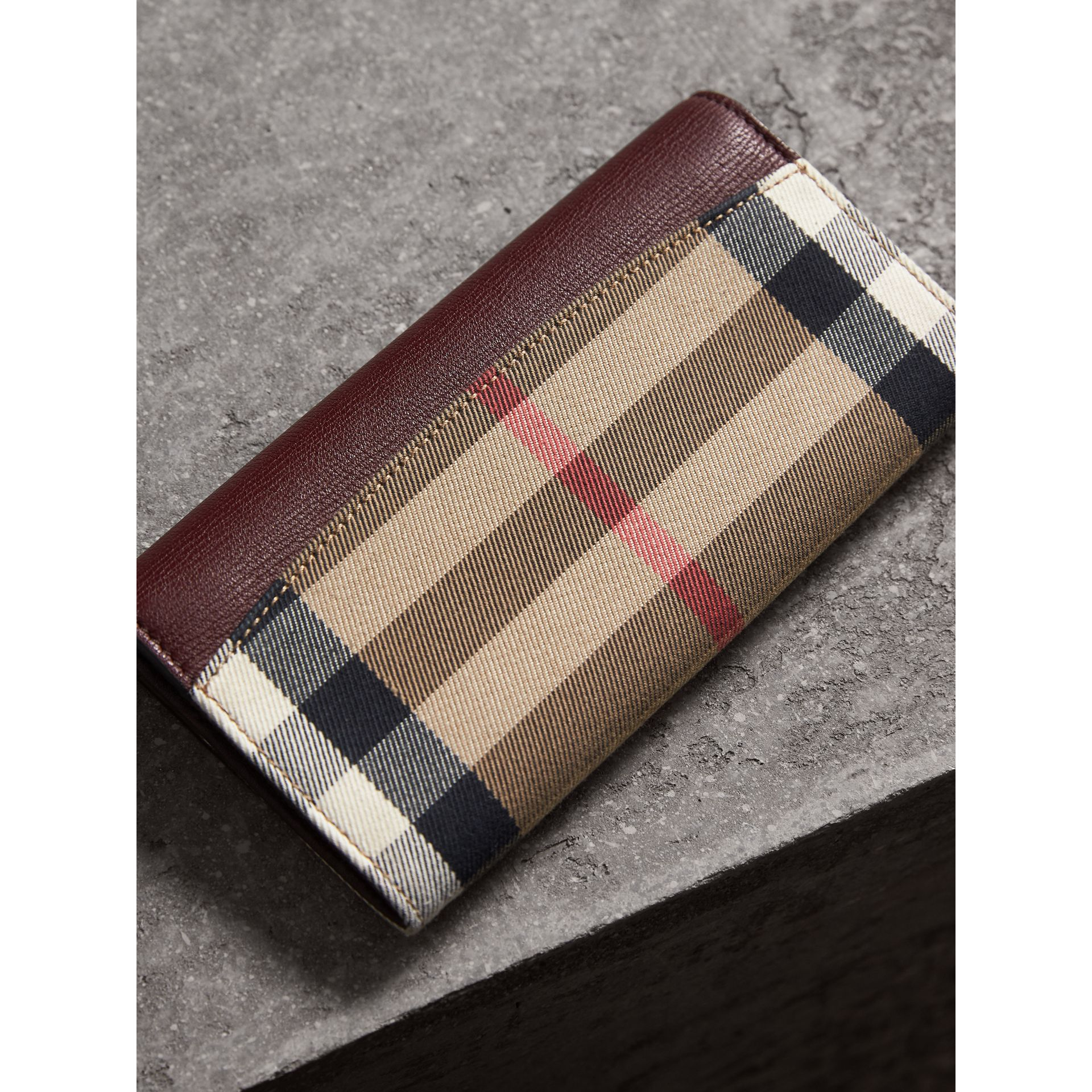 House Check And Leather Continental Wallet in Mahogany Red - Women | Burberry - gallery image 2