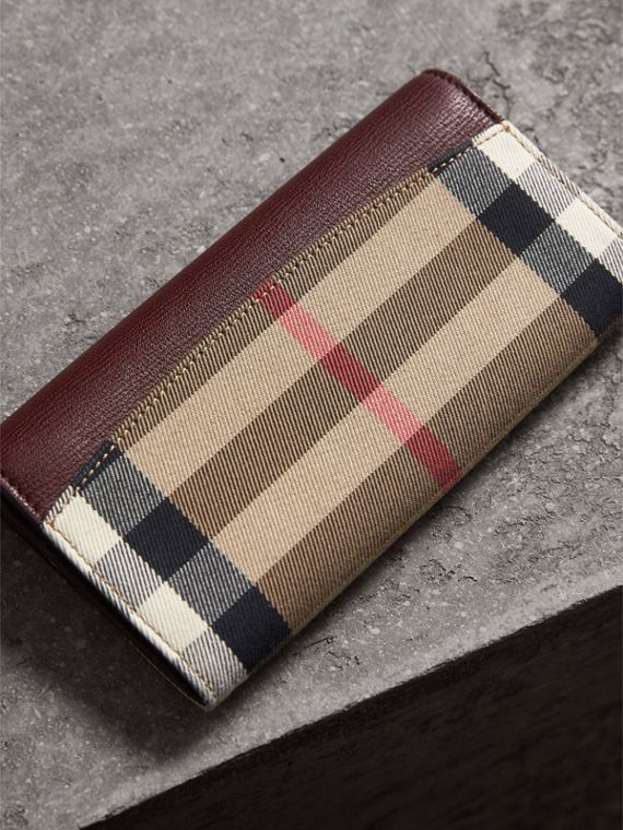 House Check And Leather Continental Wallet in Mahogany Red - Women | Burberry - cell image 2