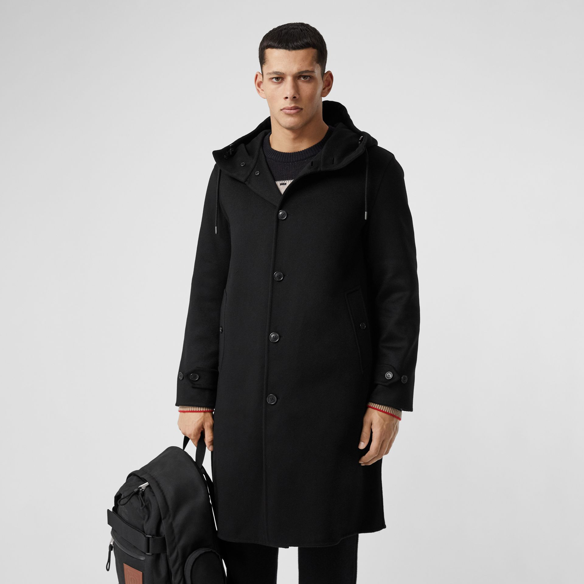 Double-faced Cashmere Hooded Coat in Black - Men | Burberry Hong Kong S.A.R - gallery image 5