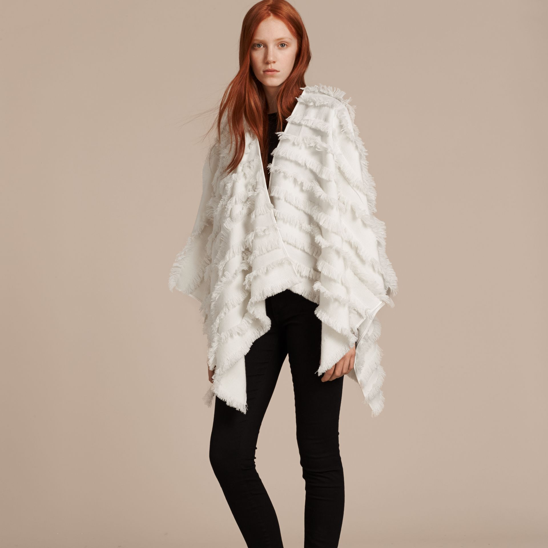 White Fil Coupe Wool Cashmere Poncho White - gallery image 1