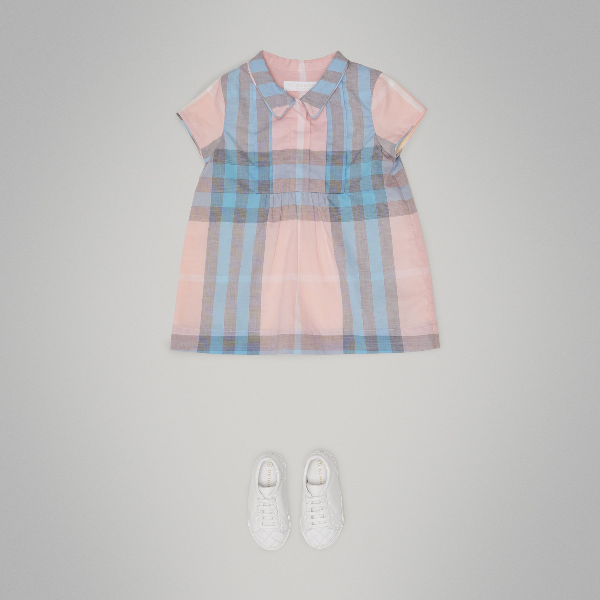 Pleated Bib Check Cotton Dress in Ice Pink | Burberry United Kingdom - gallery image 1