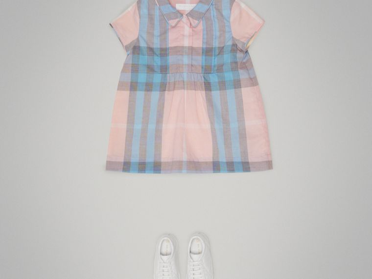 Pleated Bib Check Cotton Dress in Ice Pink | Burberry United Kingdom - cell image 1