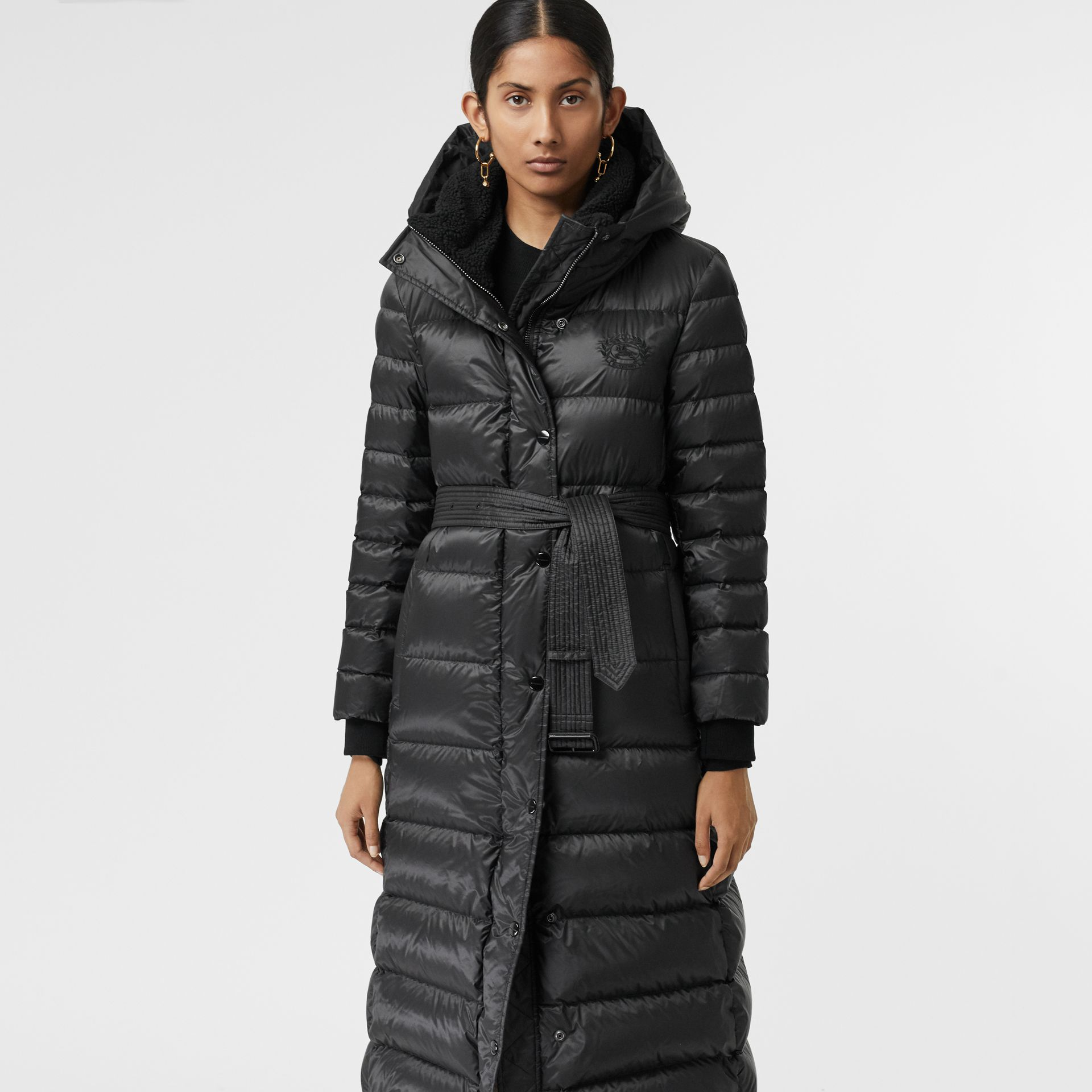 Down-filled Hooded Puffer Coat in Black - Women | Burberry United Kingdom - gallery image 5