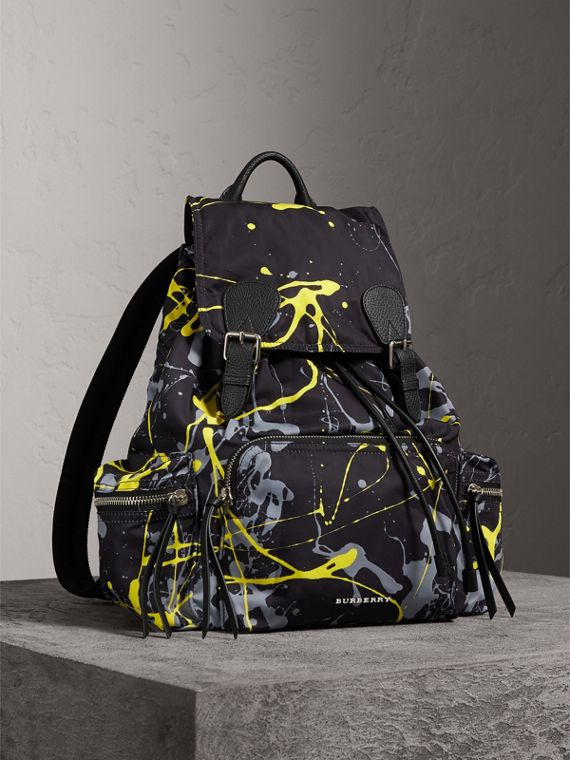 The Large Rucksack in Splash Print in Black/yellow