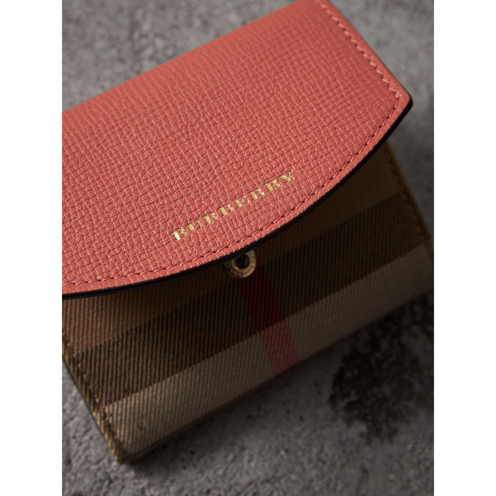 House Check and Leather Wallet in Cinnamon Red - Women | Burberry - gallery image 1