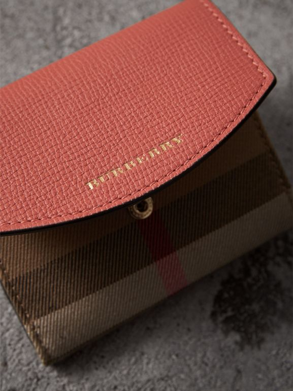 House Check and Leather Wallet in Cinnamon Red - Women | Burberry - cell image 1