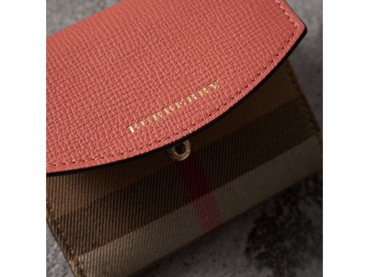 House Check and Leather Wallet in Cinnamon Red - Women | Burberry Australia - cell image 1