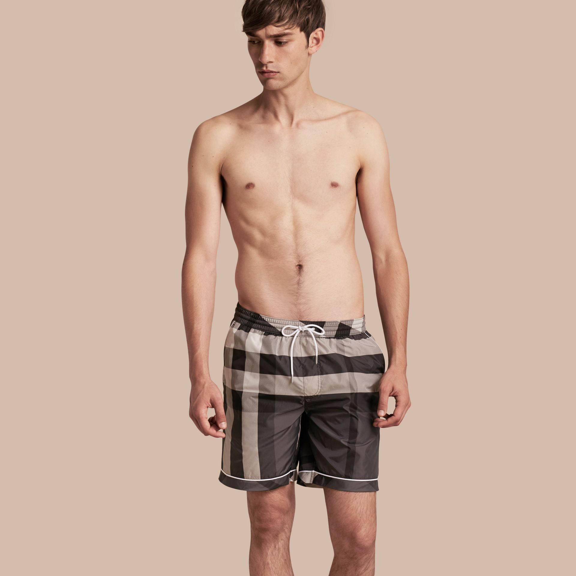 Charcoal Check Print Swim Shorts with Piping Detail Charcoal - gallery image 1