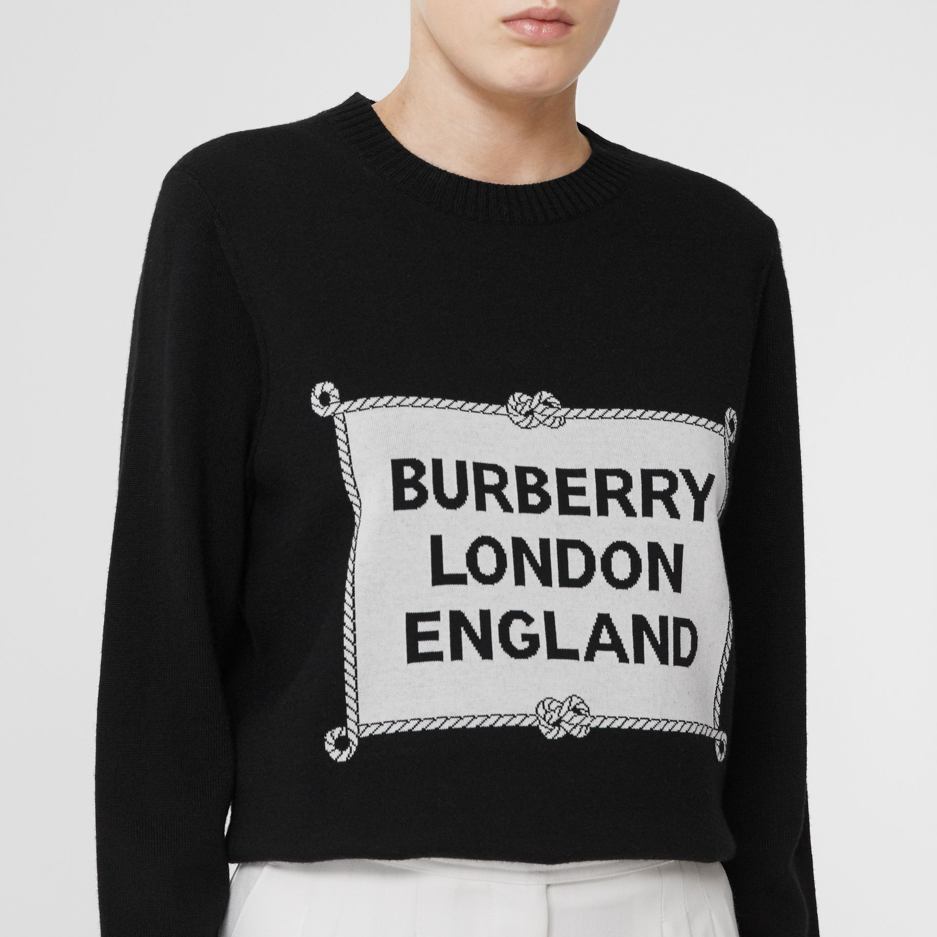 Rigging Intarsia Merino Wool Sweater in Black - Women | Burberry - gallery image 1