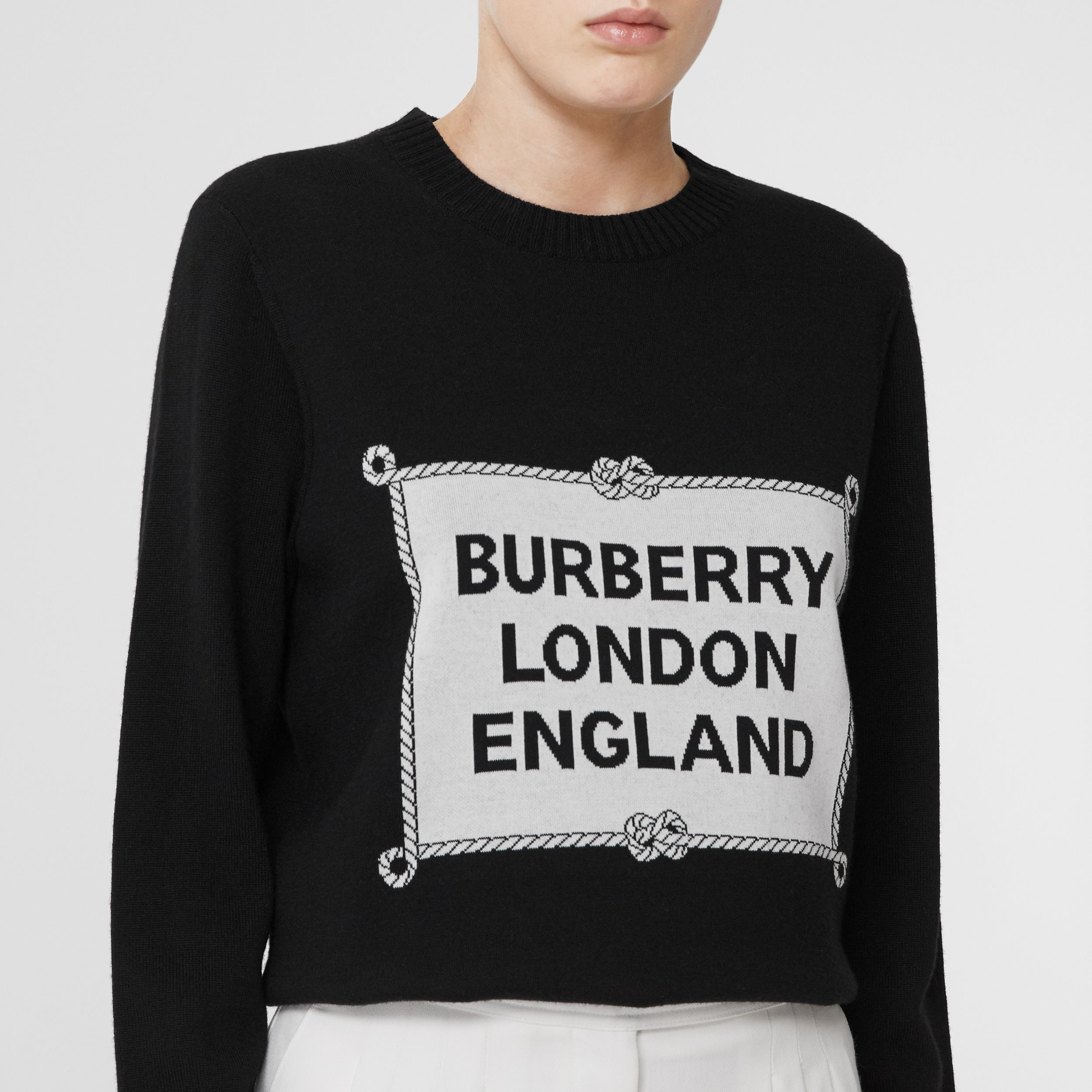 Rigging Intarsia Merino Wool Sweater in Black - Women | Burberry - 2