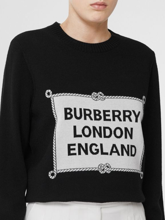 Rigging Intarsia Merino Wool Sweater in Black - Women | Burberry - cell image 1