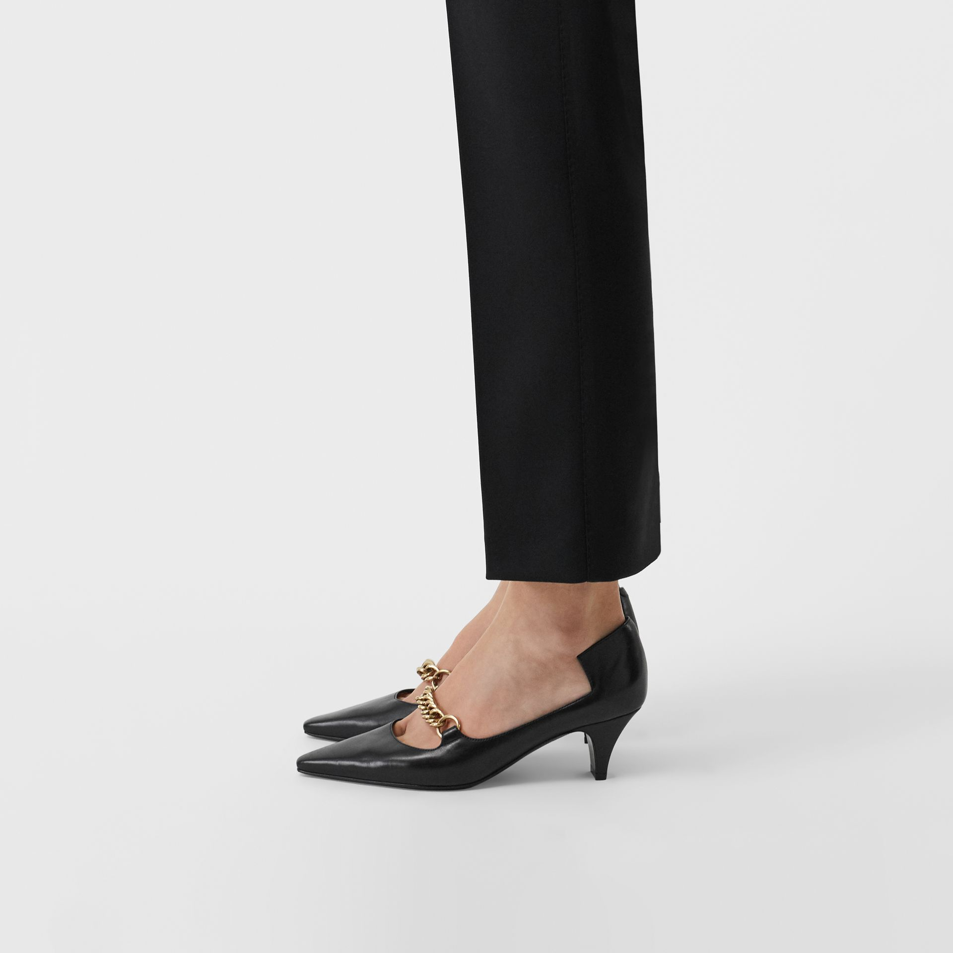 Link Detail Leather Pumps in Black - Women | Burberry - gallery image 2