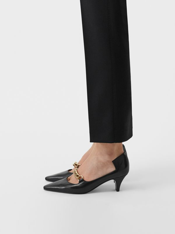Link Detail Leather Pumps in Black - Women | Burberry United States - cell image 2