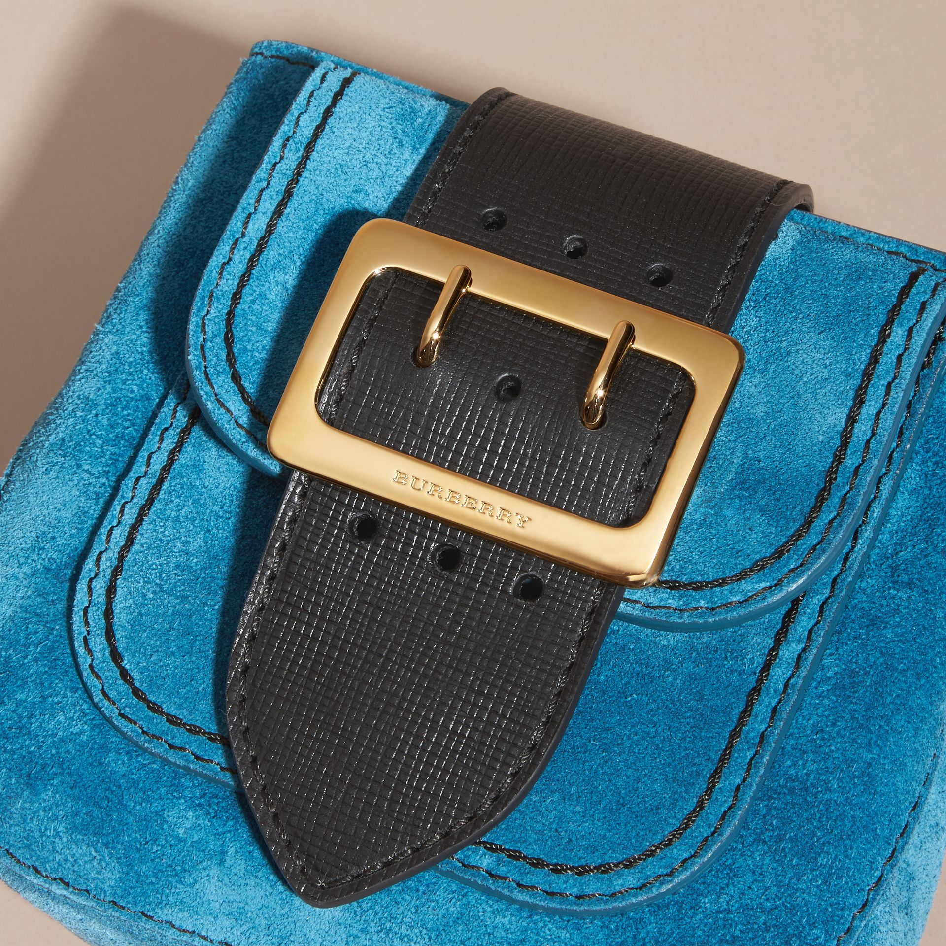 Peacock blue The Small Square Buckle Bag in Suede and Leather Peacock Blue - gallery image 2