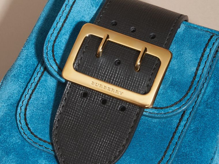 Peacock blue The Small Square Buckle Bag in Suede and Leather Peacock Blue - cell image 1