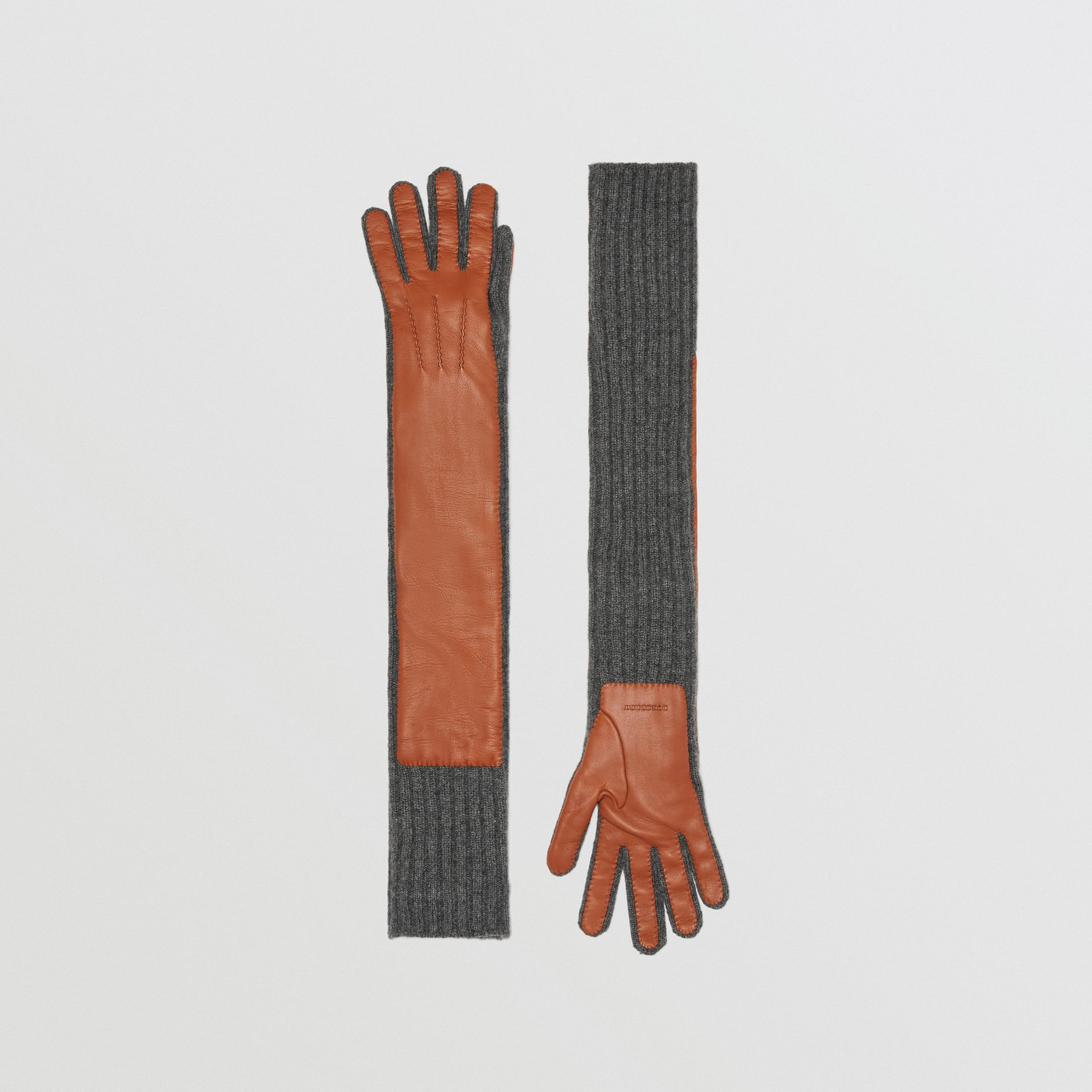 Cashmere and Lambskin Longline Gloves in Tan/charcoal - Women | Burberry United States - gallery image 0
