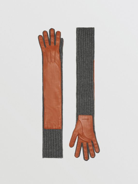 Cashmere and Lambskin Longline Gloves in Tan/charcoal